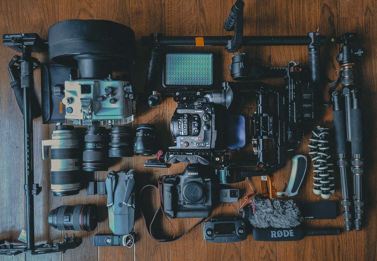 video equipment laying on a table