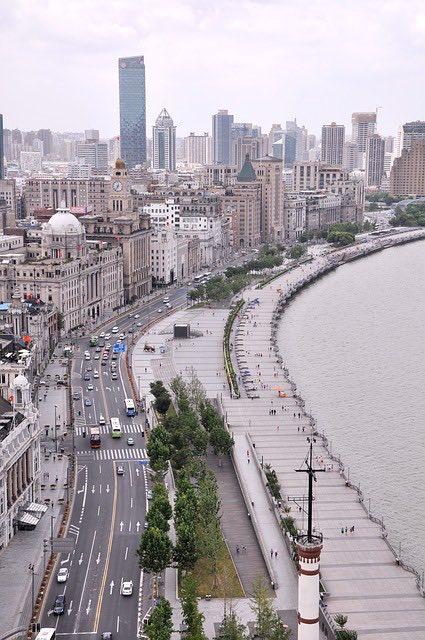 the bund promenade in shanghai