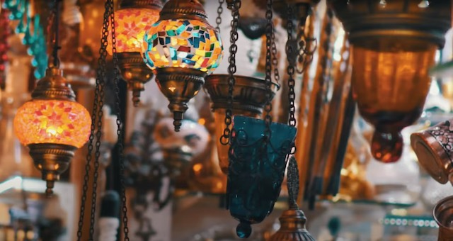 lamps on display at the grand bazzar