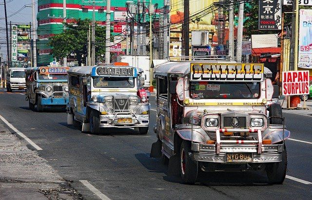 jeepneys decorated in the Philippines