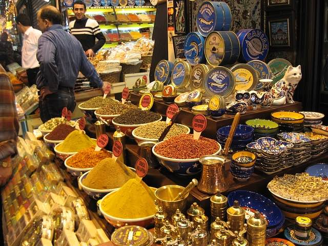 variety of spices on display in Istanbul market