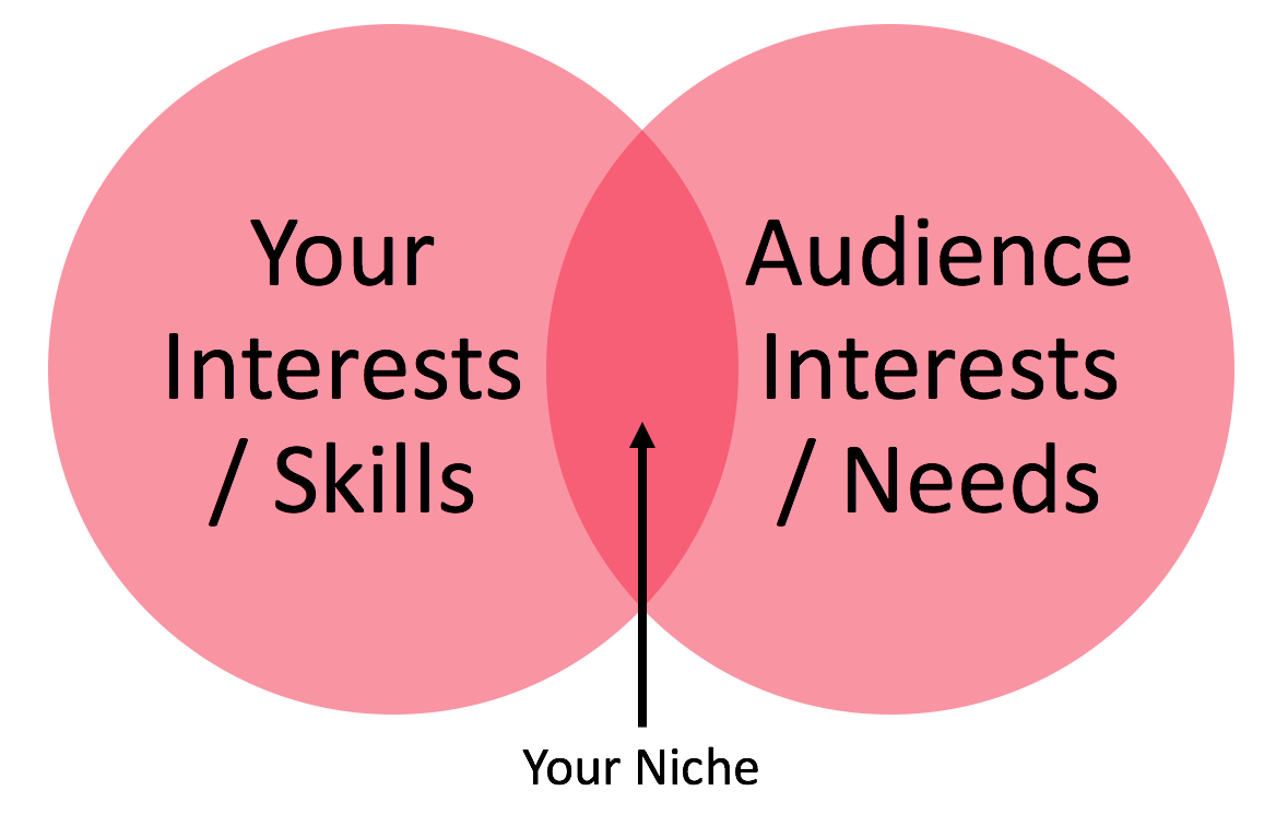 diagram of overlapping skills and audience needs to find vlog niche