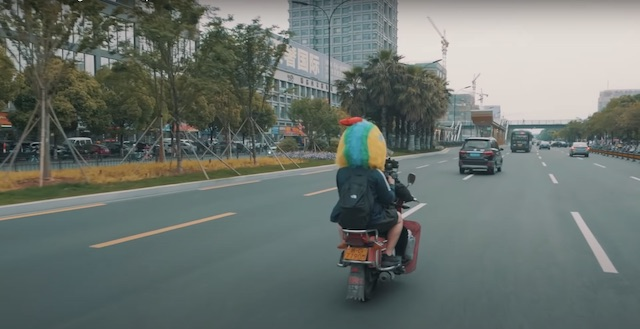 riding back of motorcyle in yiwu china streets