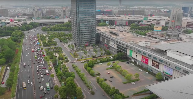 birds eye view of yiwu china streets and markets