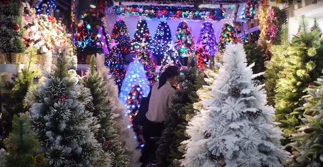 christmas trees in bulk at yiwu international trade market