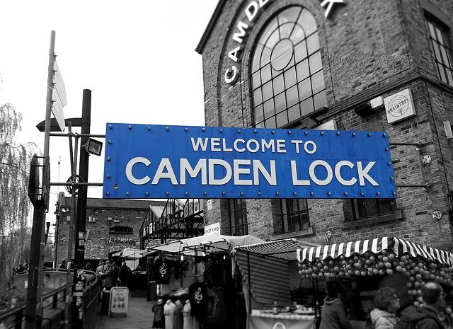 welcome to the camden lock market in london england sign with shops