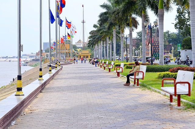 hanging out on the river promenade in phnom penh cambodia is a popular way to spend the day