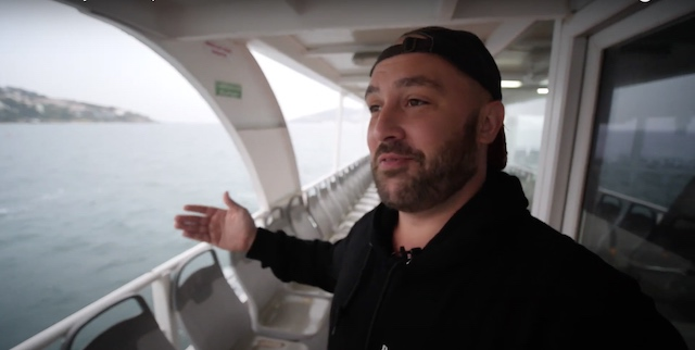Collin Abroadcast on a boat in Turkey taking his viewers on a journey and making his video into a story - top tip for new vloggers