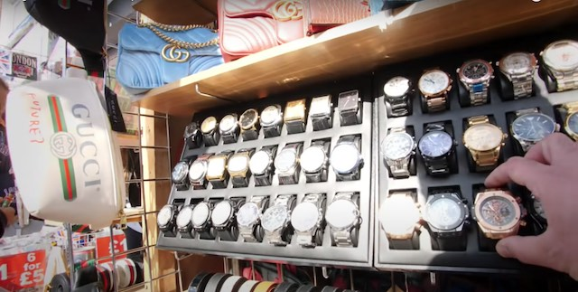shopping for watches at the Camden Market in London