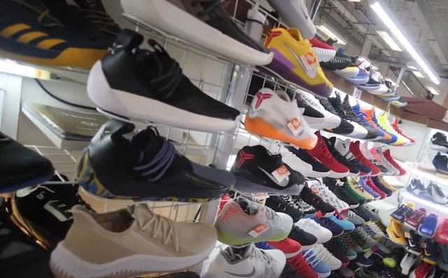 large display of basketball shoes in divisoria market manila philippines