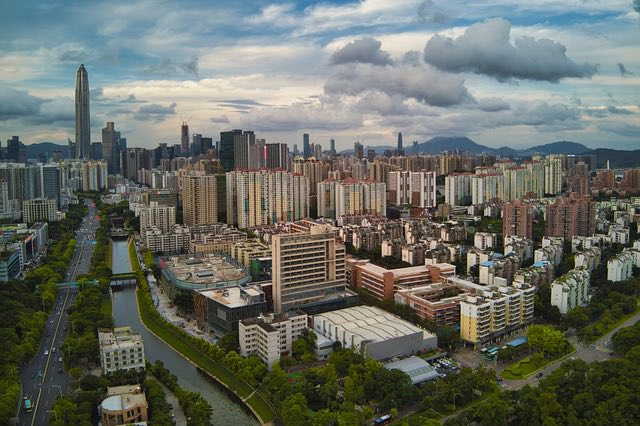 view of Shenzhen China neighborhood and canal