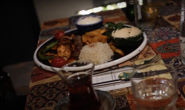 plate of turkish food on a table at a restaurant