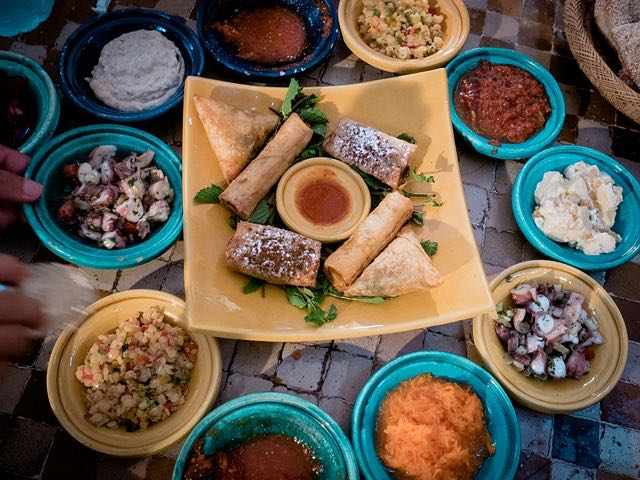view of table full of food at restaurant in casablanca morocco