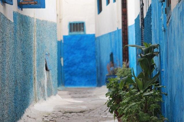 old medina walled city streets in casablanca morocooa