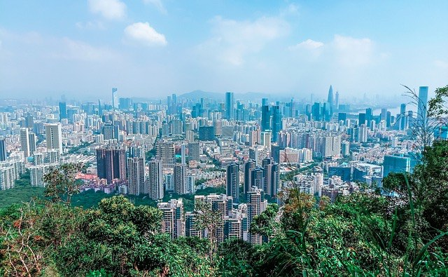 view of the shenzhen city skyline and landscapes around town