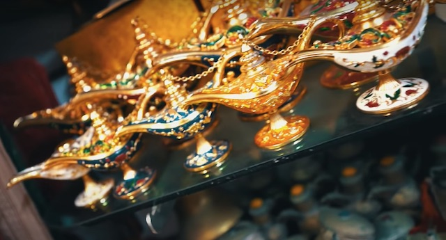 close up view of moroccan gold lamps for sale in casablanca central market